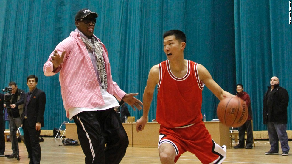 Rodman plays one-on-one with a North Korean player during a basketball practice session in Pyongyang on Friday, December 20, 2013. During the session, Rodman selected the members of the North Korean team who will play in Pyongyang against visiting NBA stars on January 8, the birthday of North Korean leader Kim Jong Un.