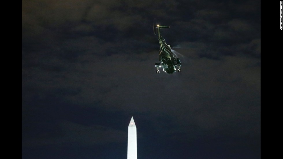 <strong>December 20:</strong> President Barack Obama and his family depart via Marine One as they travel to his home state of Hawaii, from the South Lawn of the White House in Washington.