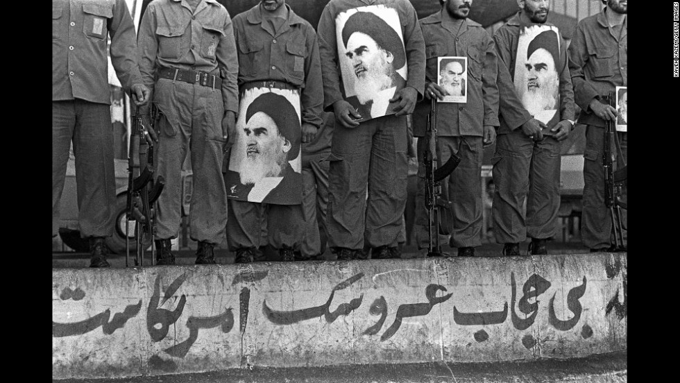 Iranian Revolutionary Guard Corps members assemble during a commemoration of their foundation in Tehran in 1981.