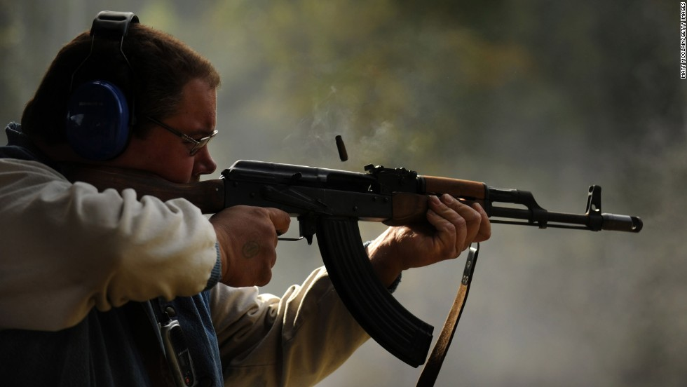A man shoots an AK-47 at a shooting range in West Point, Kentucky, in 2009.