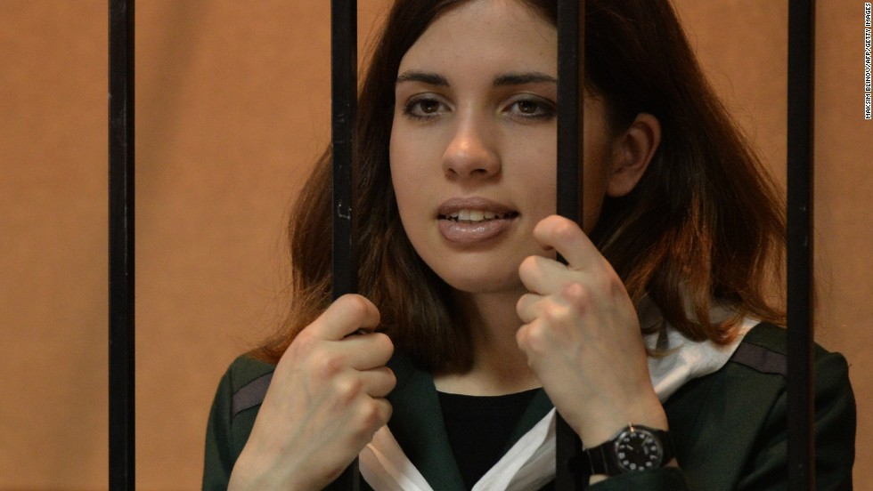 "Nadezhda Tolokonnikova, from the punk band ""Pussy Riot,"" was put in prison for speaking out against Russian President Vladimir Putin."