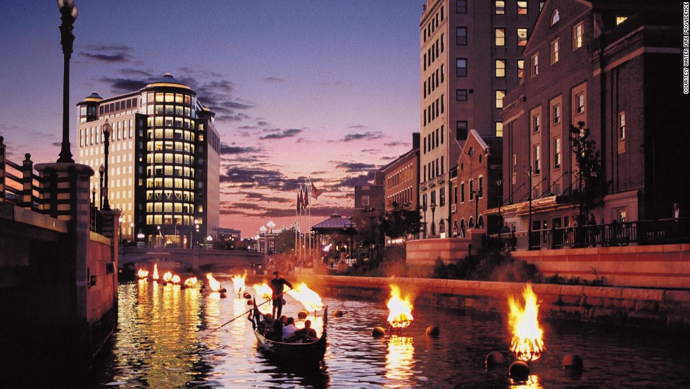 "Fire and water combine in downtown Providence for an award-winning installation of more than 80 sparkling bonfires in braziers on the city's three rivers. Created in 1994 by Barnaby Evans, <a href=""http://waterfire.org"" target=""_blank"">WaterFire</a> will celebrate its 20th anniversary this year. The schedule typically runs from the end of May through early November."