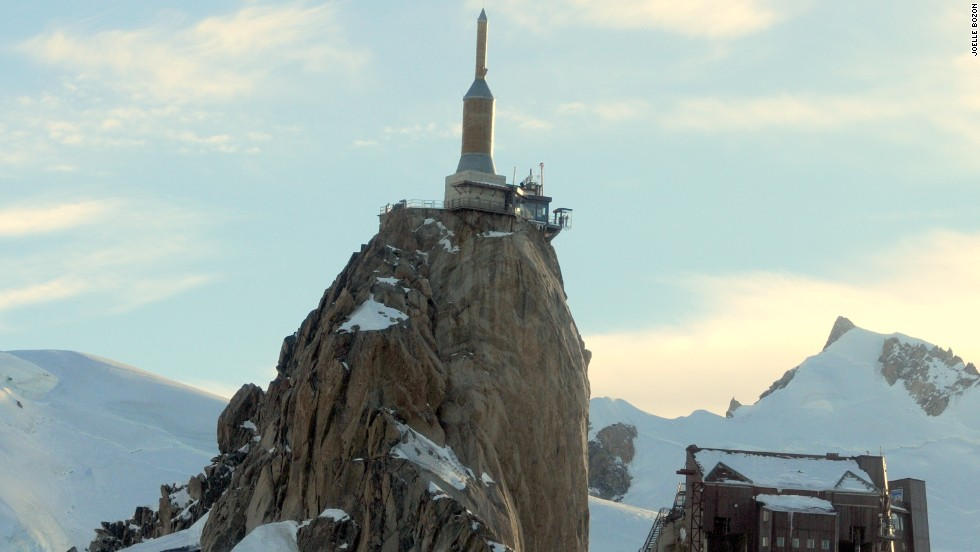Visitors to the site must take two separate cable cars to reach the summit. From there they can gain a magnificent view of Mont Blanc -- Europe's tallest mountain.