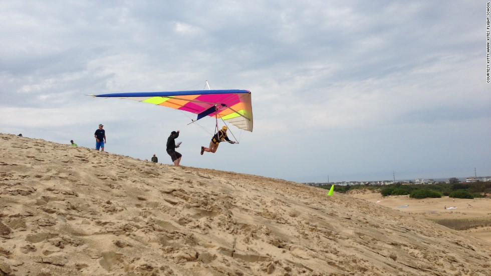 "Have you ever wanted to fly? Try hang-gliding lessons at <a href=""http://www.kittyhawk.com/hang-gliding/"" target=""_blank"">Kitty Hawk Kites Flight School </a>on North Carolina's Outer Banks. Founder John Harris, who has taught thousands of students to take off from Jockey's Ridge dune, celebrates 40 years in business this year. Some students have even taken off in a replica of the Wright Brothers' 1902 glider. Kitty Hawk also offers Jet Ski tours, sailing cruises, horseback riding trips and other fun that doesn't require flight."