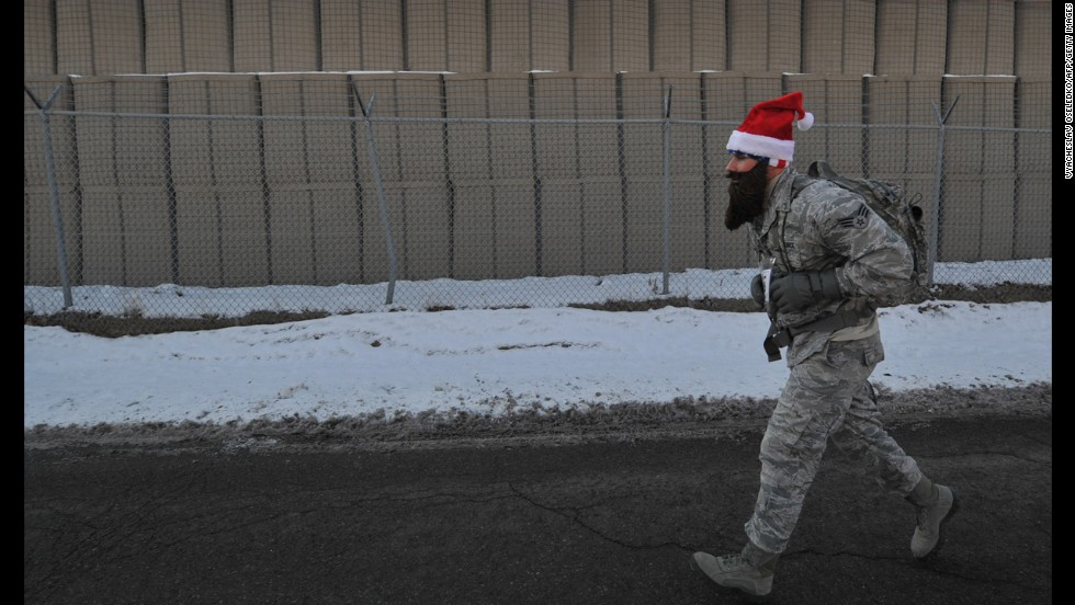 A U.S. soldier takes part in the Christmas 5 kilometer run at the U.S. Transit Center of Manas, near Bishkek, the capital of Kyrgyzstan.