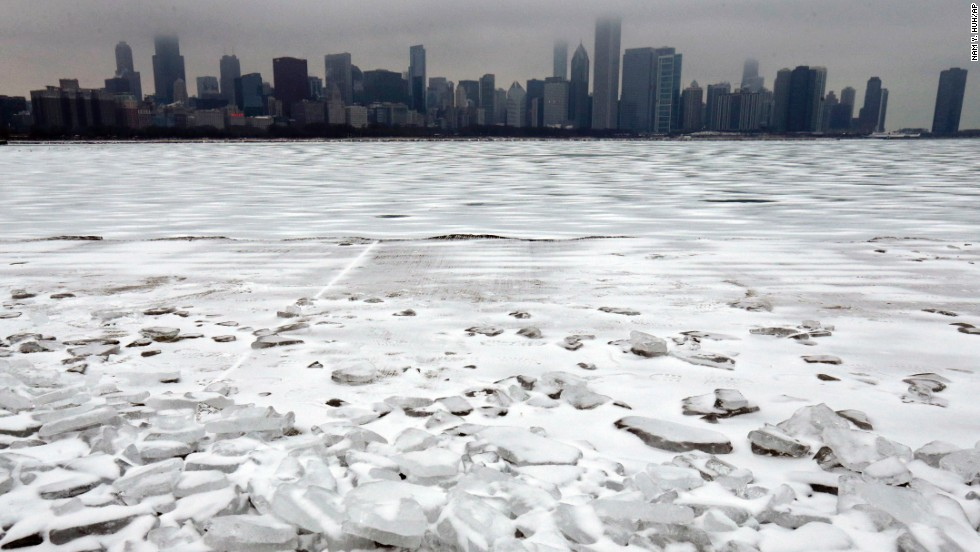 Snow and ice cover Lake Michigan in Chicago, on December 26.