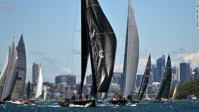 The 94-strong fleet leaves Sydney Harbor on Boxing Day on its way to Hobart in Tasmania.