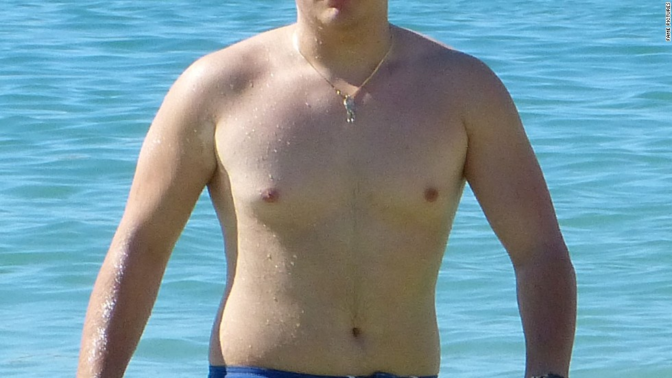 Prince Jackson goes for a dip in Hawaii over Christmas 2013.