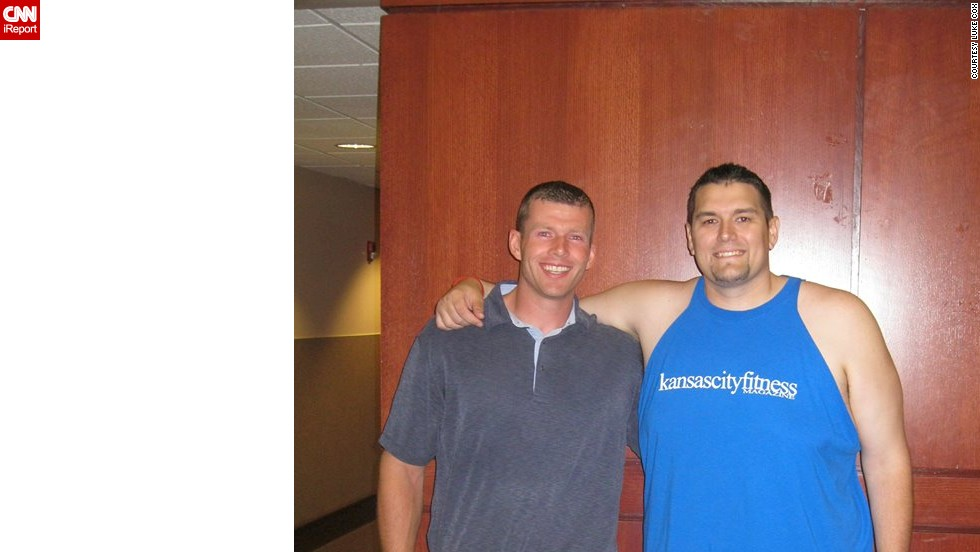 In June 2013, Cox won the spring 2013 Kansas City Fit Magazine weight-loss challenge. Here he poses with his coach, Ty Ratliff, his small town's elementary school gym teacher and high school football coach.