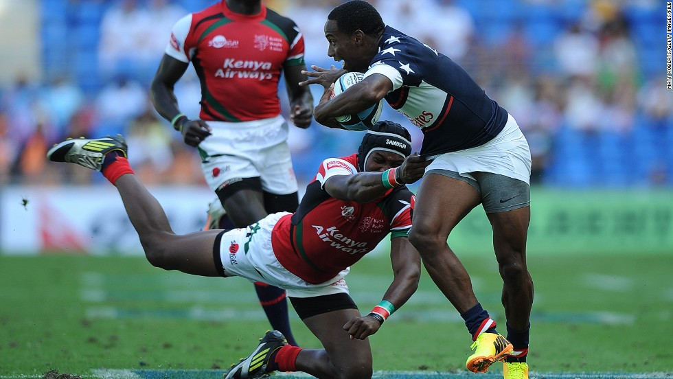 The winger has become a key member of the U.S. international team -- here scoring a try against Kenya at the Gold Coast Sevens in Australia in October 2013.