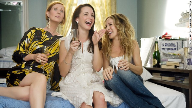 "Cynthia Nixon, Kristin Davis and Sarah Jessica Parker in ""Sex and the City: The Movie."""