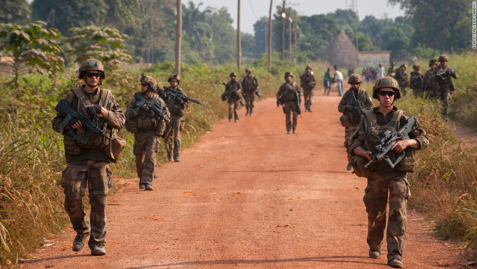 French soldiers patrol the streets of Paoua, Central African Republic, on December 15.