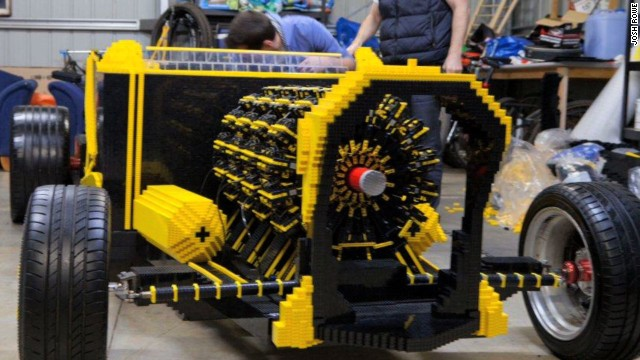 A life-size car made of 500,000 Lego pieces is built in Australia.