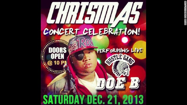 Rapper Doe B is seen in this concert poster promoting a recent performance.