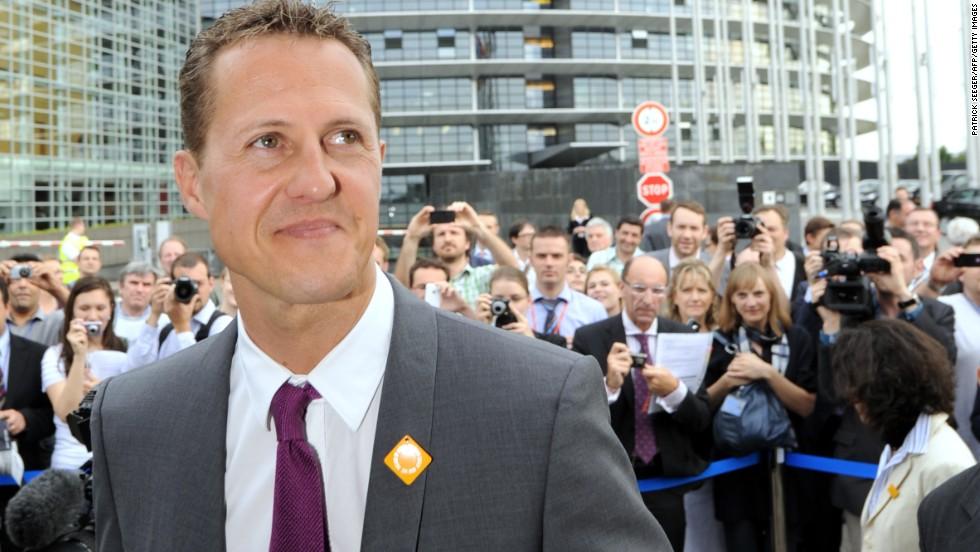 Schumacher visits the European Parliament in Strasbourg, France, to test eSafety technologies in 2011.