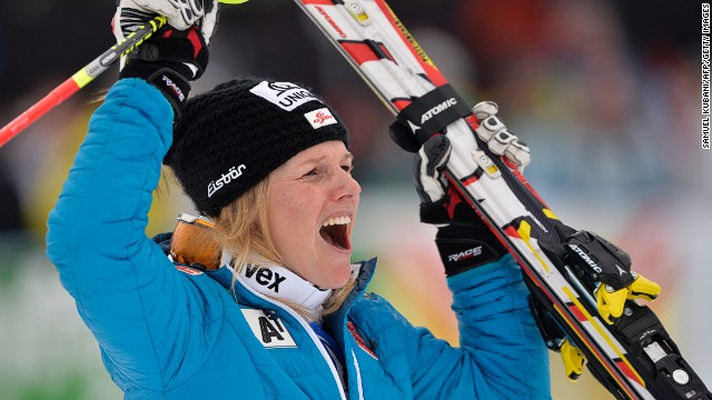 Marlies Schild celebrates after winning the World Cup slalom race in Lienz, Austria on December 29.