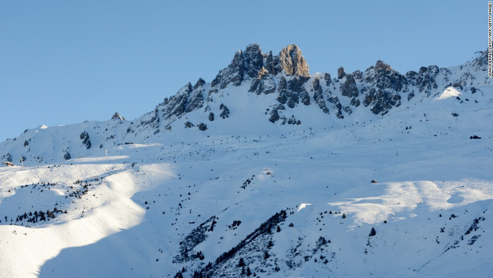 "The ""Dent de Burgin"" peak in the French ski resort of Meribel under which the retired German driver reportedly had his skiing accident."