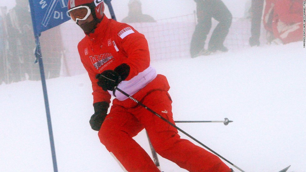 "Schumacher skiing in Madonna di Campiglio in January 2008. ""My colleagues and I in the snow sports medicine fraternity continue to recommend that all skiers and snowboarders wear an appropriately sized and designed helmet on the slopes,"" Langran said in a statement on website <a href=""http://www.ski-injury.com/uploads/fck/file/Schumacher%20statement%2012_13.pdf"" target=""_blank"">www.ski-injury.com</a> on Monday.<br />"