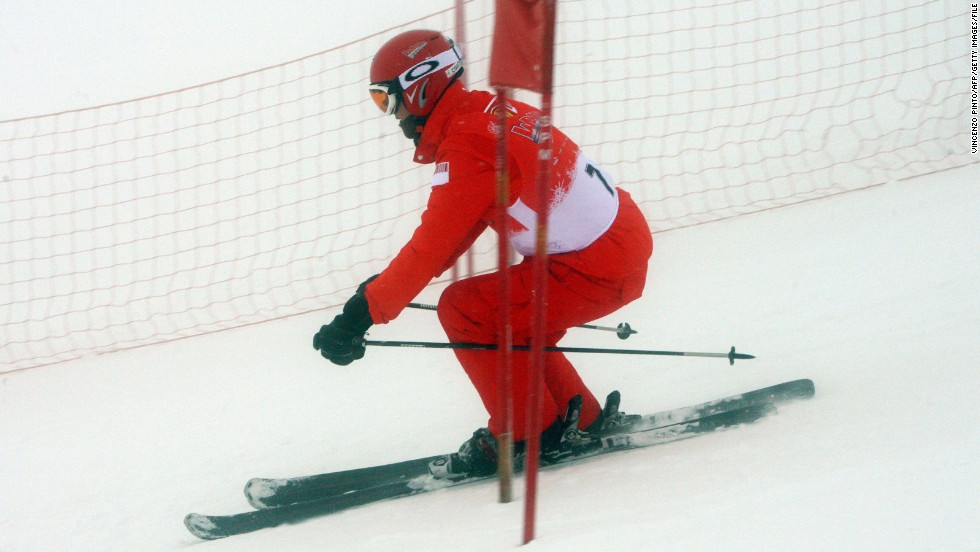 "Schumacher skiing in Madonna di Campiglio in January 2008.  ""Accidents of this nature are, thankfully, rare events amongst skiers and snowboarders,"" Langran says. ""The absolute risk of an injury whilst skiing or snowboarding recreationally remains very low, in the order of 2-4 injuries per 1,000 days spent on the slopes. The vast majority of people will ski or board all their lives without ever sustaining a significant injury."""