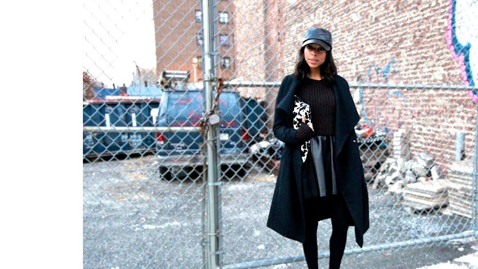 "Janelle Lloyd of the street fashion and decor blog <a href=""http://www.girlsofffifth.com/"" target=""_blank"">Girls Off Fifth</a> makes an all-black ensemble look luxe by mixing textures like soft leather, wooly knits and quilting detail."