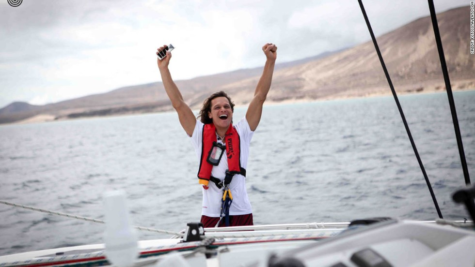 Frans celebrates as the boat leaves landfall in the Canary Islands at the start of the team's 6000km journey across the Atlantic.