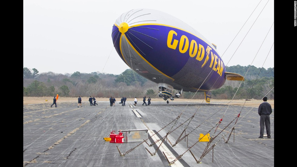 Goodyear's two older GZ-20 blimps, like this one, are shorter and slower than the new NT. A third airship, Spirit of Goodyear, retired this year. The tire and rubber company estimates that about 60 million Americans get a first-hand look at its blimps every year.