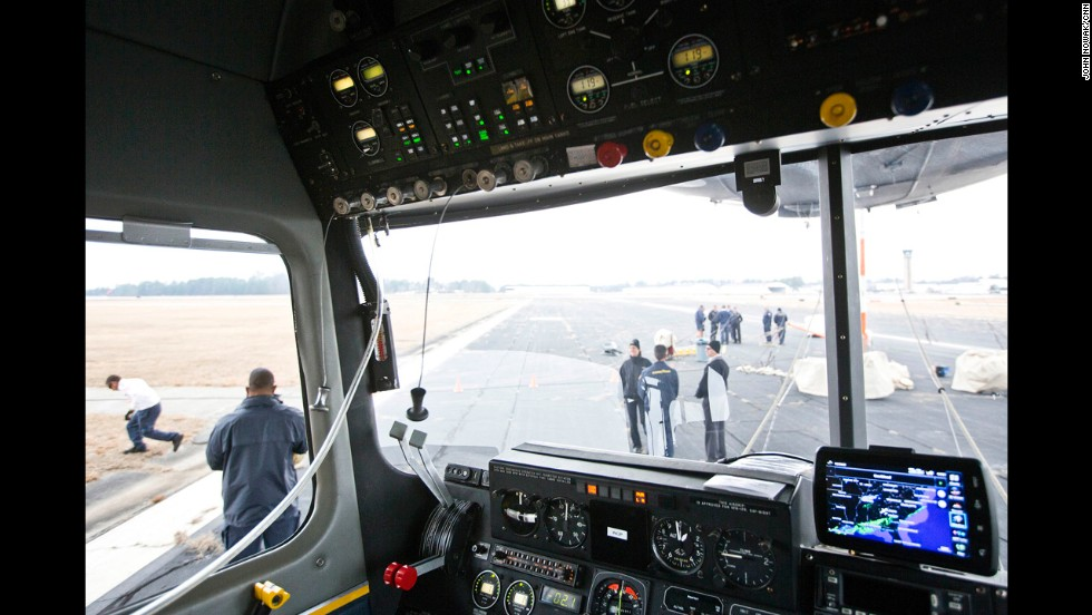 The blimp is piloted from inside a small gondola.