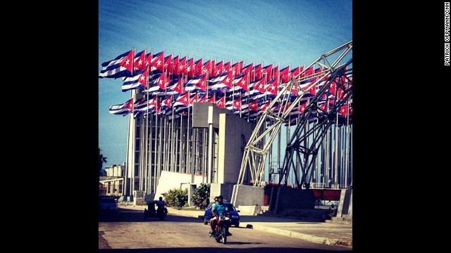 Cuban flags all but block out the U.S. diplomatic mission in Havana during frostier diplomatic times.