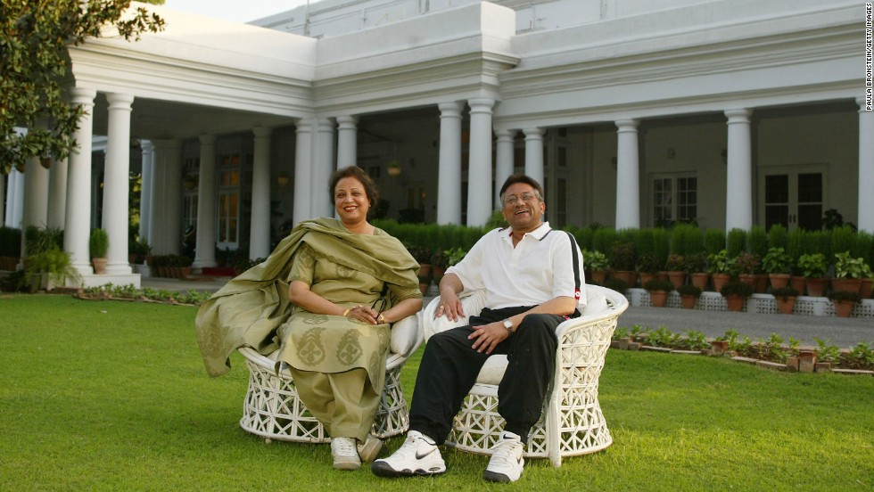 Musharraf sits with his wife, Begum Sehba, at their residence in Rawalpindi, Pakistan, in 2002.