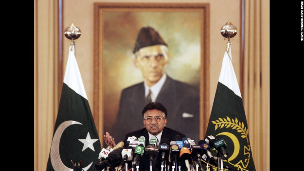 Musharraf speaks to the press in November 2007, days after he declared a state of emergency in the country. Musharraf suspended Pakistan's constitution, imposed restrictions on the press and postponed the January 2008 elections. He said he did so to stabilize the country and to fight rising Islamist extremism. His action drew sharp criticism from democracy advocates, and Pakistanis openly called for his ouster.