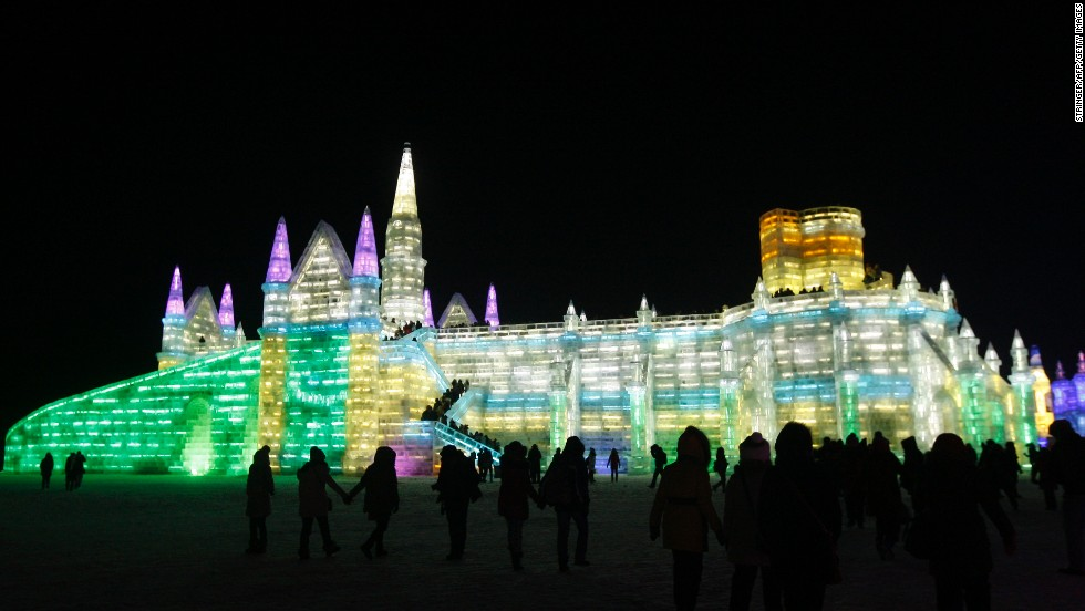 Yep, that ice palace is made entirely of ice blocks from the frozen Songhua River.