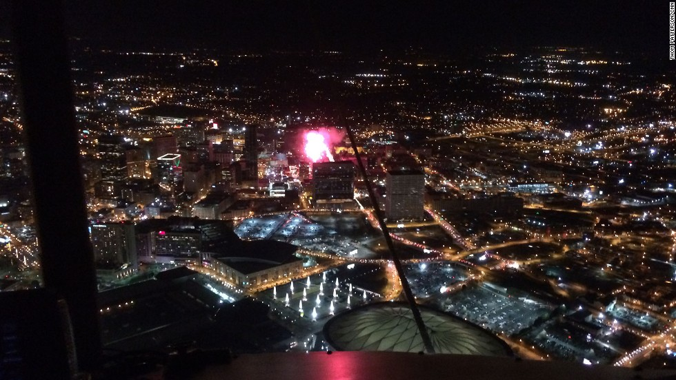 At about 2,000 feet, the blimp offered a spectacular view of Atlanta's Georgia Dome on New Year's Eve.
