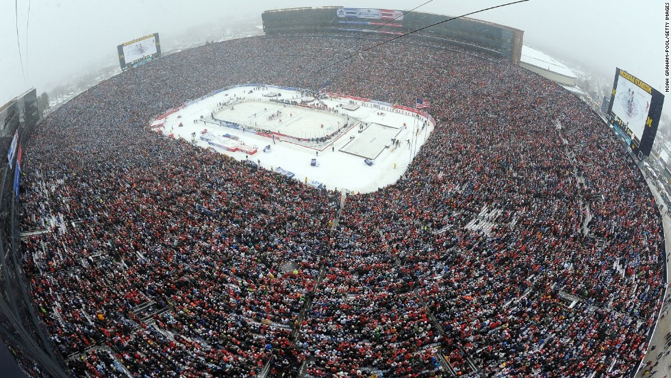 More than 100,000 shivering hockey fans defied the weather to cram into the Michigan Stadium -- otherwise known as the Big House -- to watch Toronto Maple Leafs' 3-2 win against Detroit Red Wings in NHL's sixth Winter Classic, which is traditionally played on January 1.