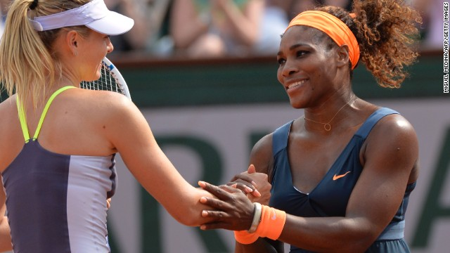 Serena Williams and Maria Sharapova exchange handshakes following the American's victory at the 2013 French Open final.