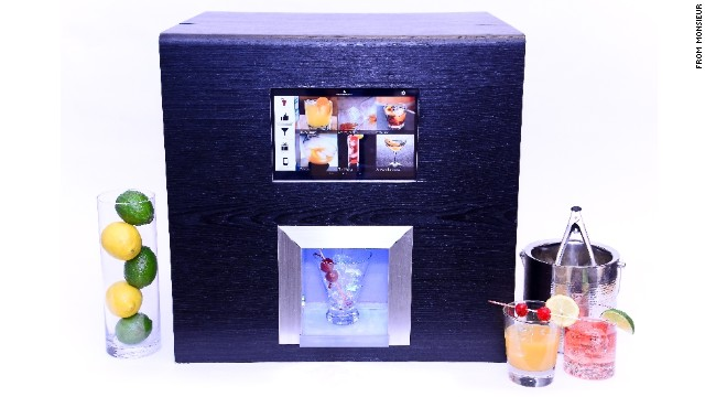 The Monsieur machine holds liquors and mixers and can whip up 300 kinds of cocktails.