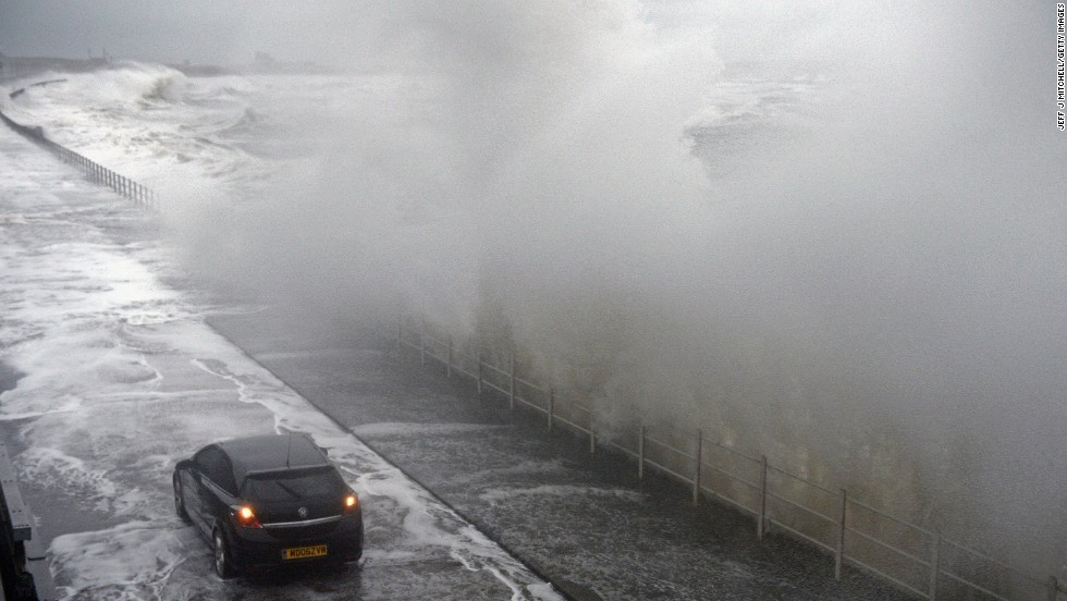 Waves break over the Saltcoats Esplanade on January 3.