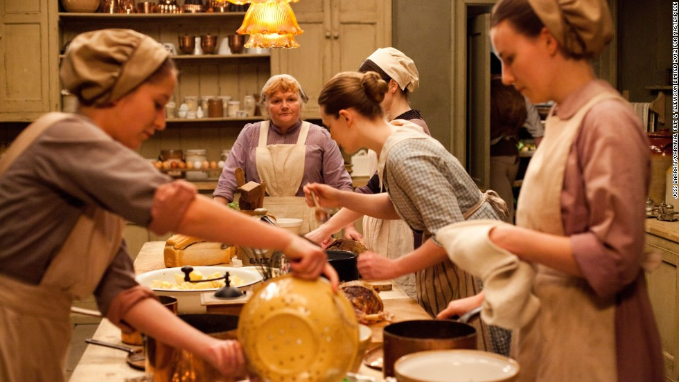 Head cook Mrs. Patmore (Lesley Nicol, rear) has her hands full in the kitchen as always.