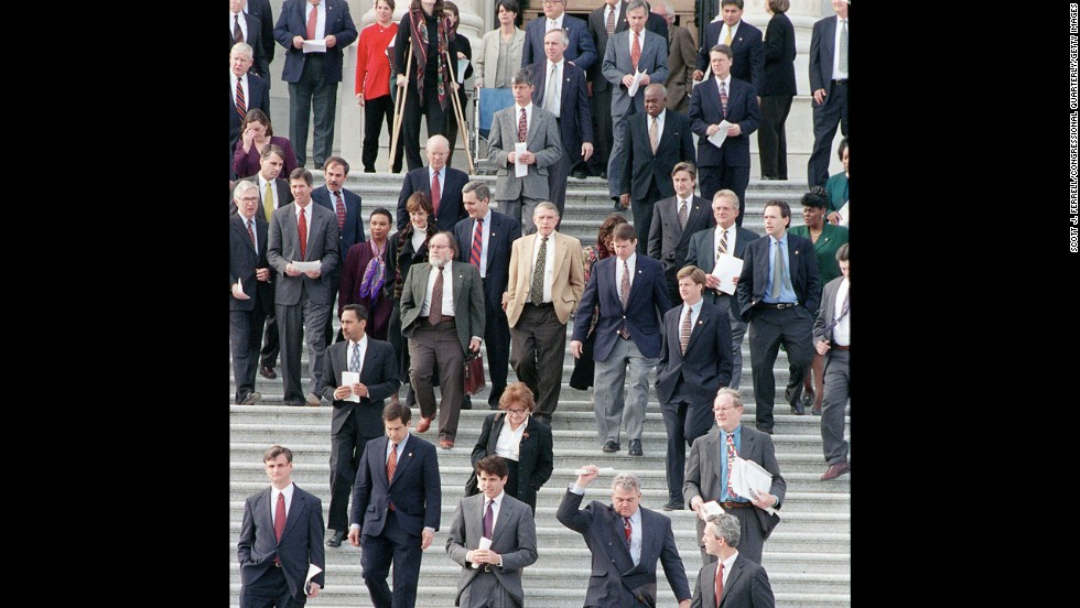 Democrats take a symbolic stand by walking off the House floor December 19, 1998, during the vote to impeach Clinton over the Lewinsky scandal. They later returned.
