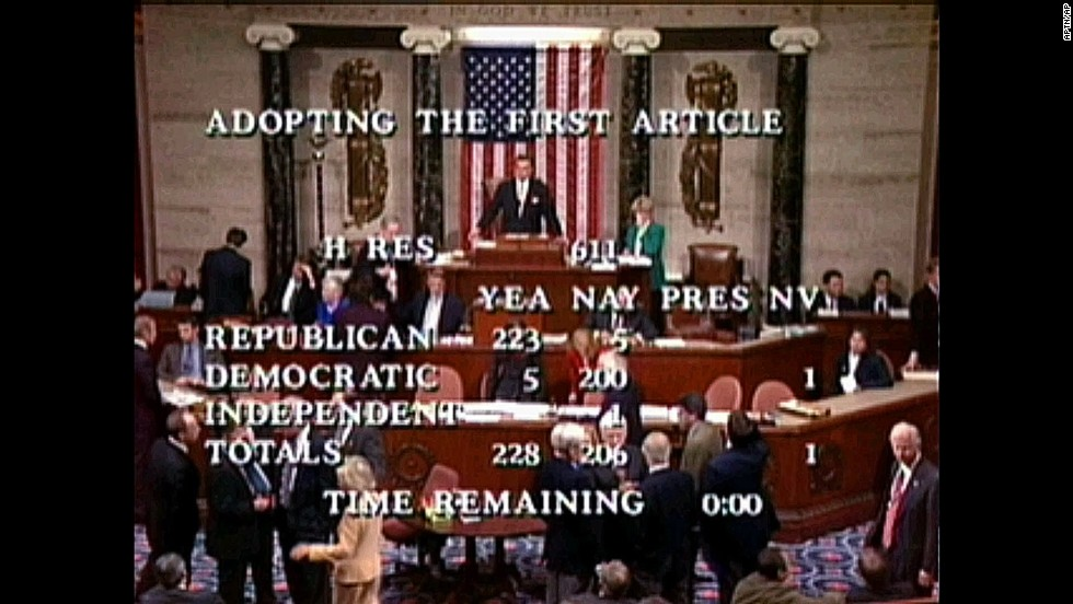 In this television image December 19, 1998, Speaker Pro Tempore Ray LaHood, R-Illinois, prepares to announce the House vote of 228-206 to approve the first article of impeachment.