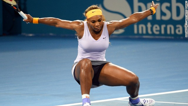 Serena Williams took a tumble Saturday but still beat Victoria Azarenka to capture the Brisbane title.