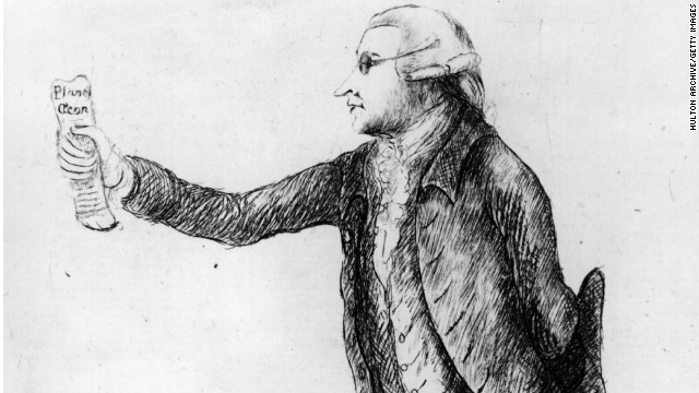 Cartoon depicts the 18th-century statesman, philosopher and political writer Edmund Burke.