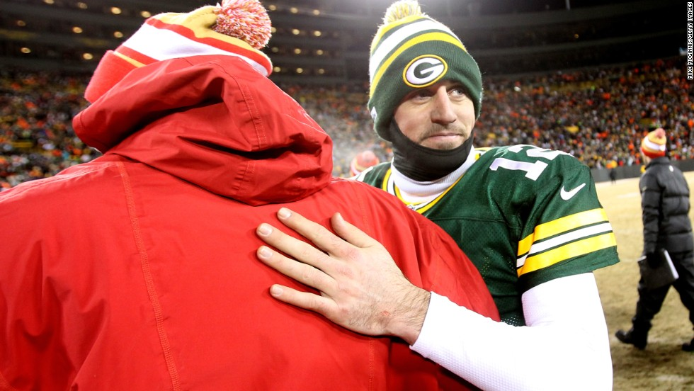 Packers quarterback Aaron Rodgers wore long sleeves and a balaclava in a bid to stave off the cold.