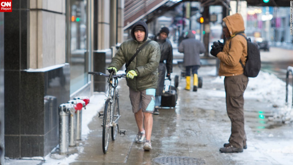 "Is this guy nuts?! He's <a href=""http://ireport.cnn.com/docs/DOC-1073280"">sporting shorts</a> in Chicago on January 6, when the temperature did not rise above 0 degrees Fahrenheit."