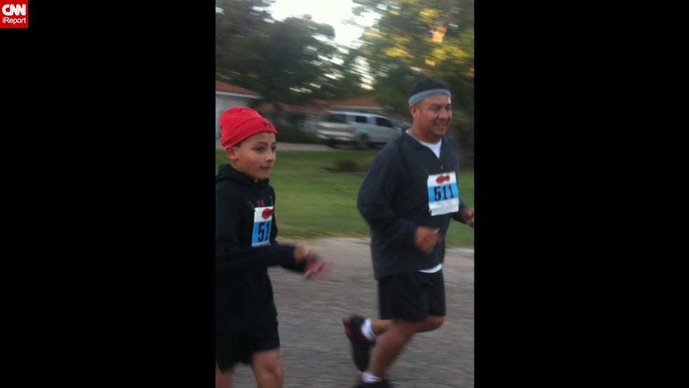 "Michael Joe Frausto Jr., a single father in Knox City, Texas, took up running as a way to spend time with his two kids, including his 10-year-old son, Michael Joe Frausto III, who did a 5K race with his dad. ""I've always instilled in both children (that) with effort, so much more in life can be accomplished,"" he said."