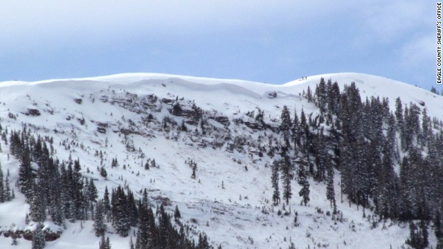 An avalanche Tuesday afternoon, January 7, 2014, near Vail, Colorado, trapped four people and killed at least one, a county official said.