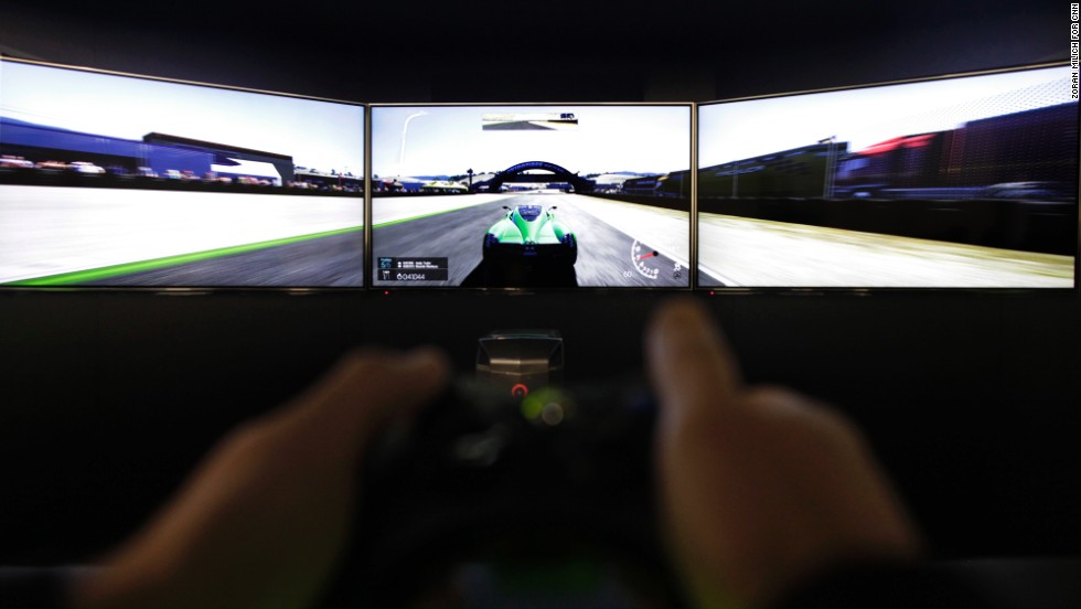 The GeForce GTX graphics card, when hooked up to three 4K surround screens, provides an immersive gaming experience.