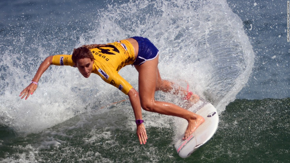 French female surfer Justine Dupont was one of several professional surfers who traveled to Belharra to wait for a chance to ride the swell.