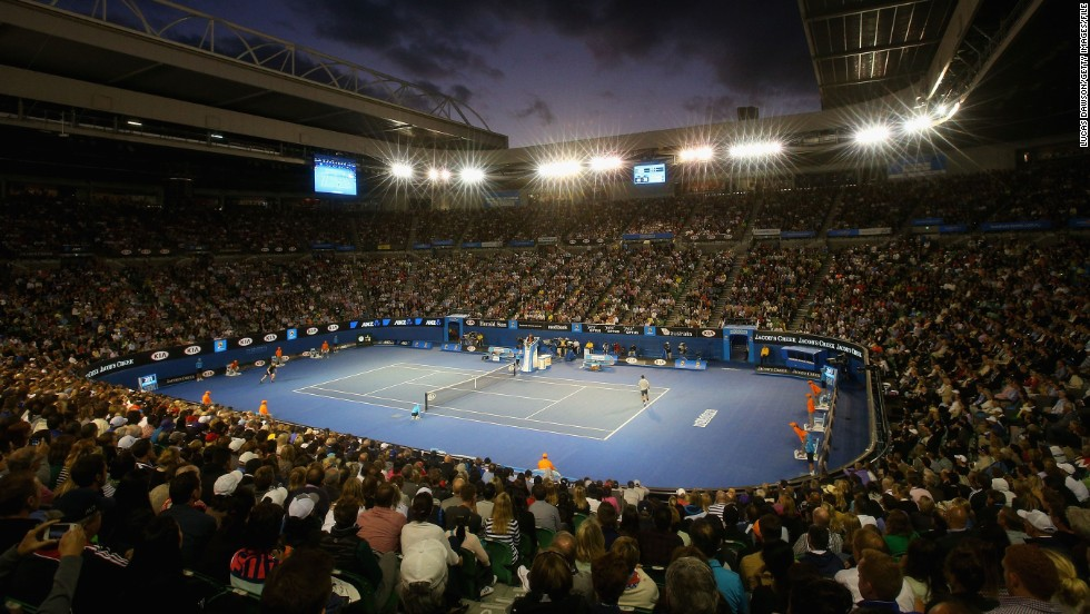 Federer and Laver played in the Rod Laver Arena, which annually hosts the Australian Open finals.