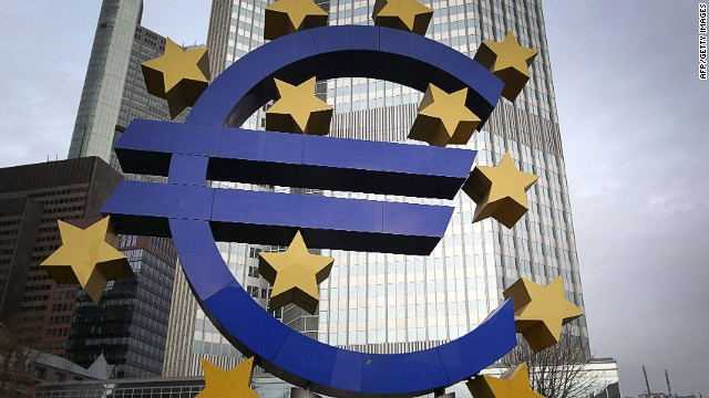 The logo of the European currency euro is pictured in front of the European Central Bank (ECB) in Frankfurt am Main, western Germany, on January 9, 2014. The European Central Bank opted to hold key rates at its first meeting of 2014, but analysts said it may have to take more concrete action later. AFP PHOTO / DANIEL ROLANDDANIEL ROLAND/AFP/Getty Images