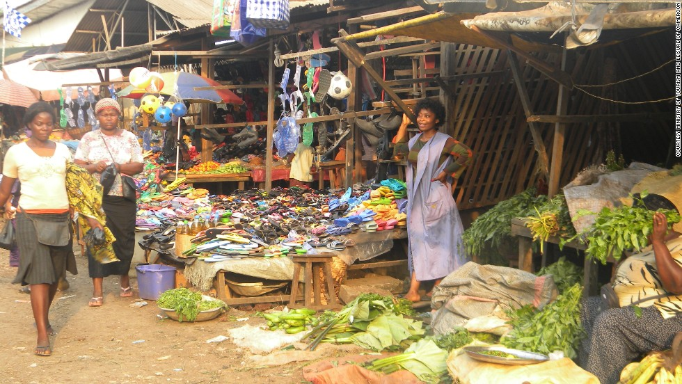 A colorful market in Limbe, a lively town on the Atlantic coast.